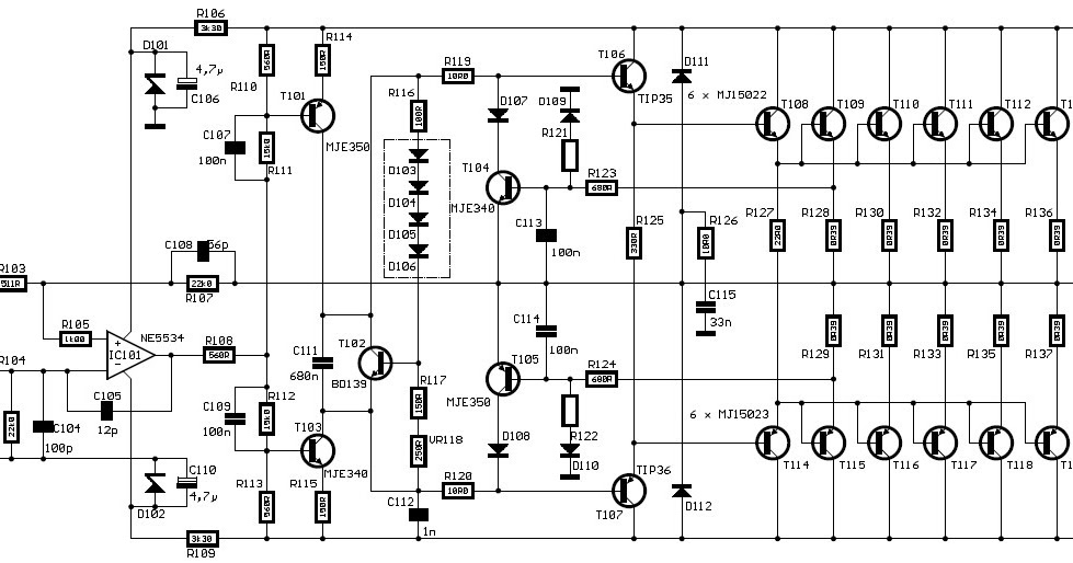 Wiring Schematic Diagram: 600 WATT HI-FI Power Amplifiers