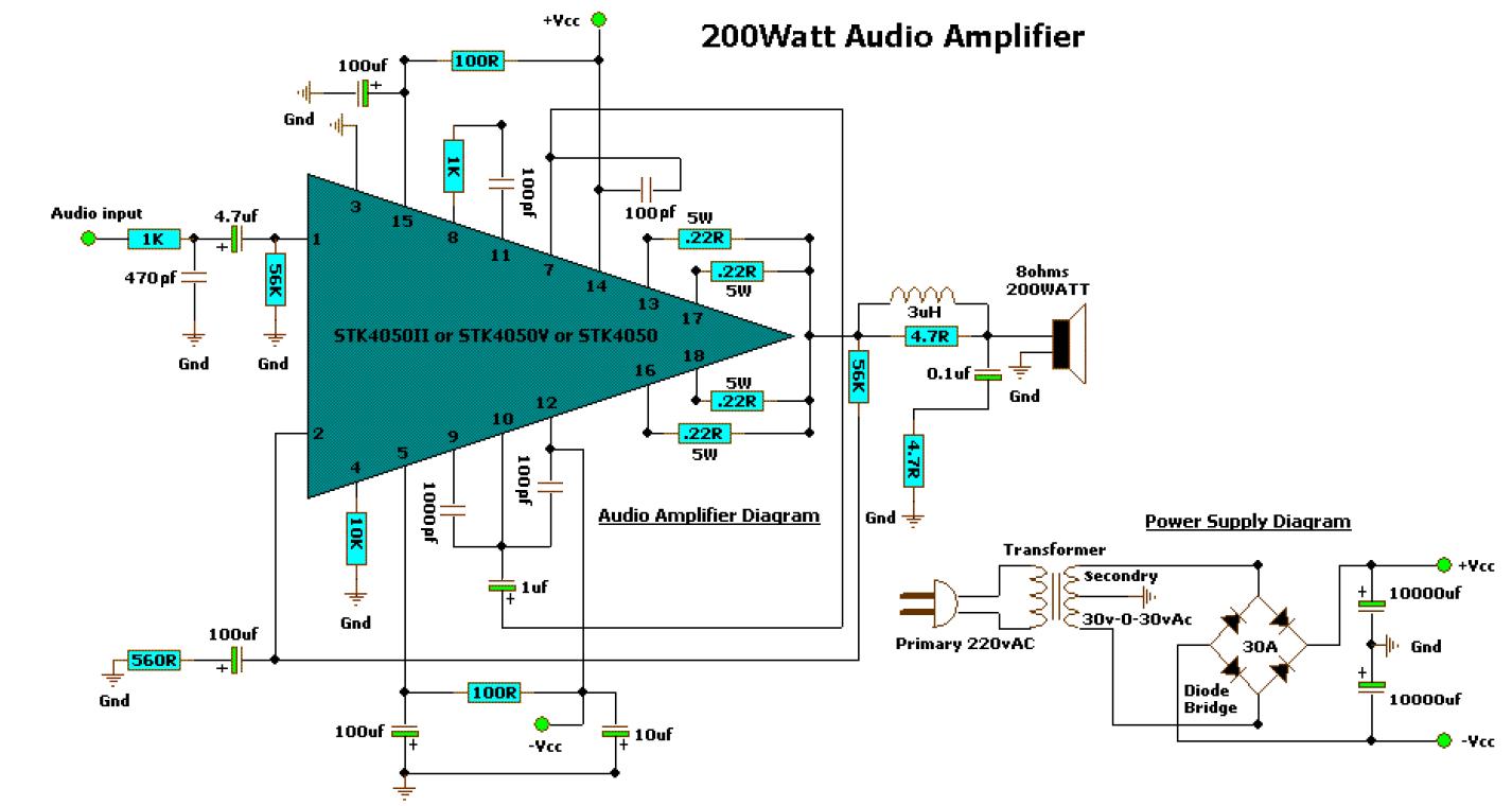 Diagram 200 WATT AUDIO AMPLIFIER Manuel  BLKaren