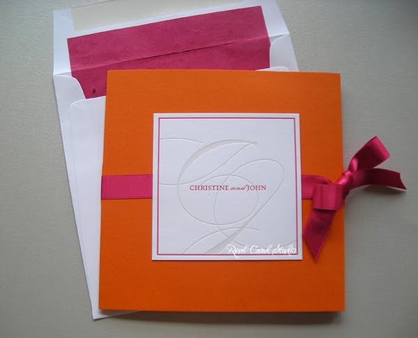 Letterpress printed, Orange, Pink, Grey, satin bow