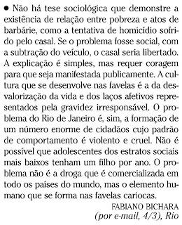 publicada na seção CARTA DOS LEITORES de O GLOBO em 05 de março de 2009