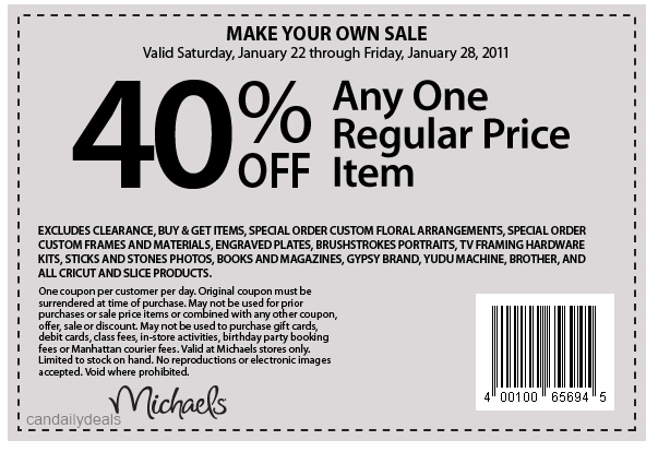 Canadian Daily Deals Michaels Canada 40 Off One Regular Priced Item Printable Coupon Jan 22 28