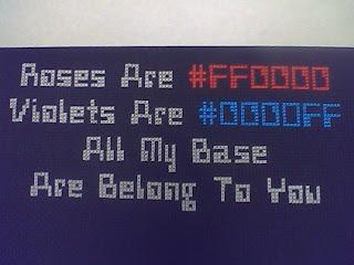 WhateverJames' geeky cross stitched love poem