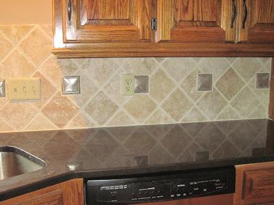 Drennon S Custom Tile Travertine Backsplash Diamond Pattern