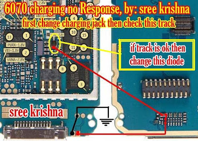 for nokia 6070 not charging problem 1  check charger connector 2  check  batteray connector 3  check fuse 4  check this circuit