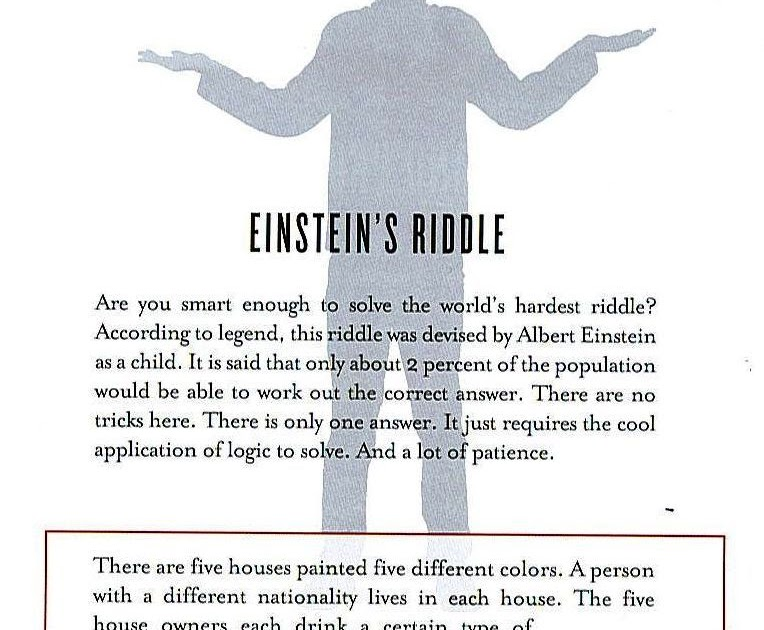 Bryson Michael's Blog: Einstein's Riddle -- Yea I solved that shit