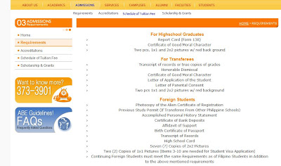 ABE requirements for admission
