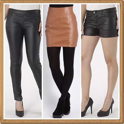 4d23039c8e3f2 Debenhams Redherring black leather look trousers £30; Missguided Liza leather  look mini skirt in tan £19.99; Debenhams Redherring black leather look  shorts ...