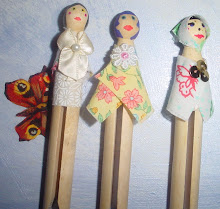 Wooden Peg Wedding Cake Toppers