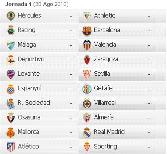 Calendario 2011 Espana.Acontecer Futbolistico Calendario De La Liga Espanola 2010 2011
