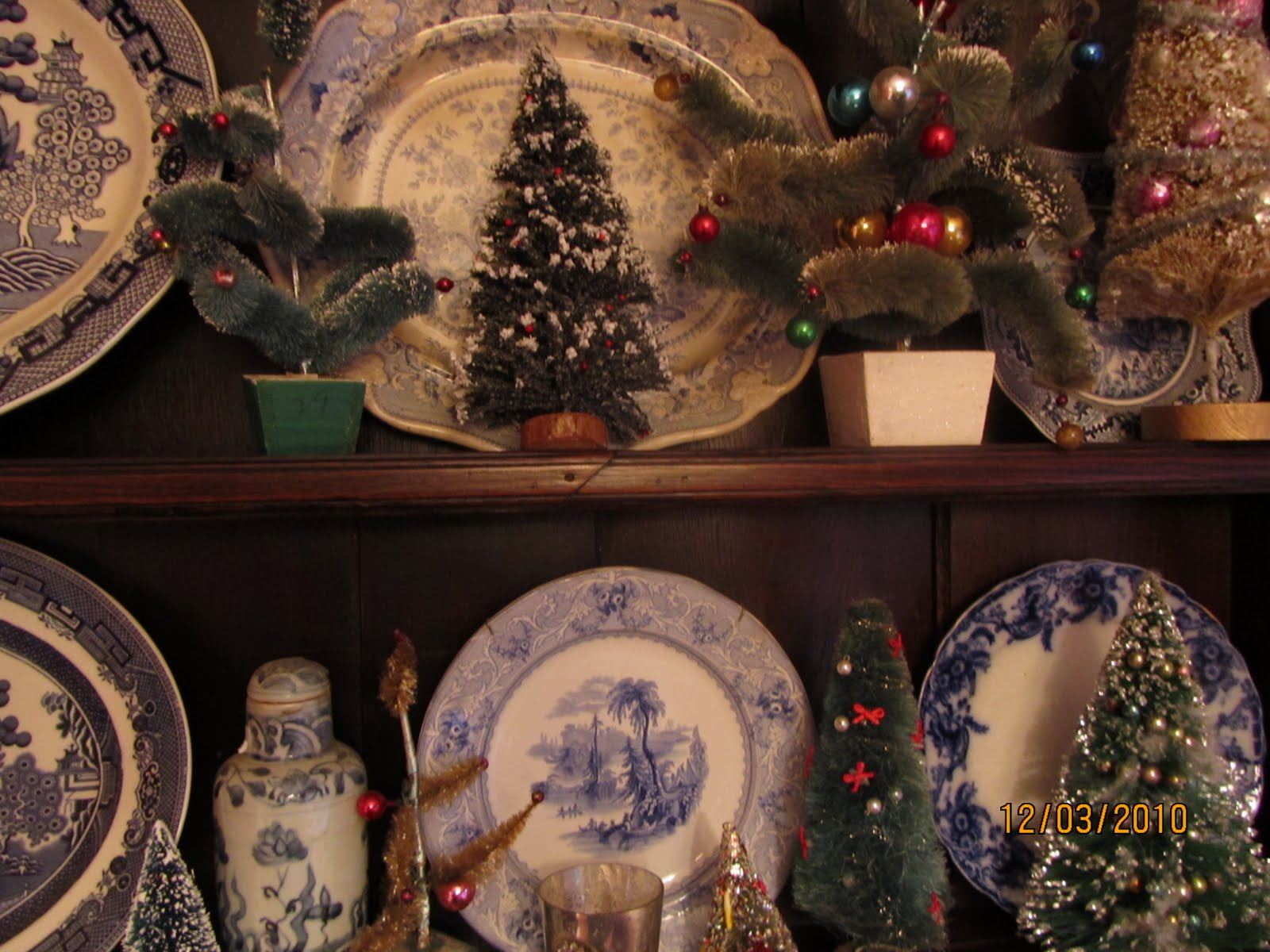 8d5275ba1096 Vintage brush trees sprout among the transferware. The snowmen have found a  ...