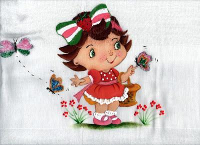 fralda pintada com moranguinho baby com cestinha e borboletas