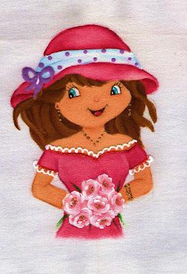 boneca pintada Moranguinho para colocar saia de croche