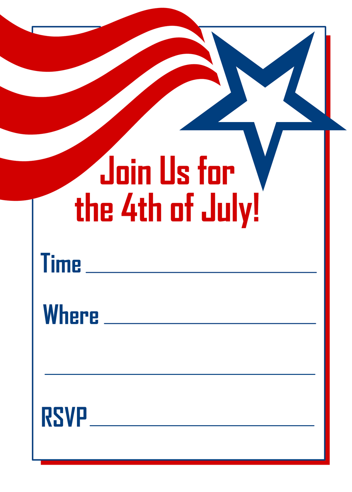 free printable party invitations red white and blue 4th of july