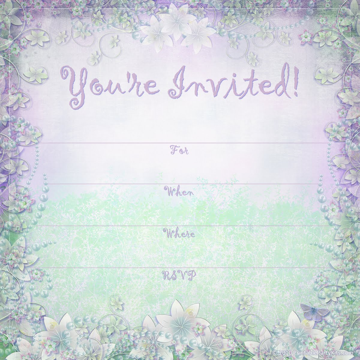 Free Printable Party Invitations Enchanted Garden Summer Party