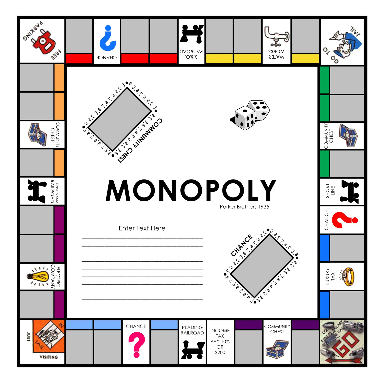 Free monopoly game board template the best 10 for Custom monopoly board template