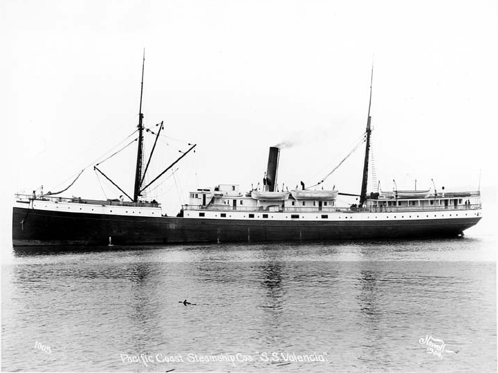 El SS Valencia, se hundi? frente a las costas de Vancouver en 1906