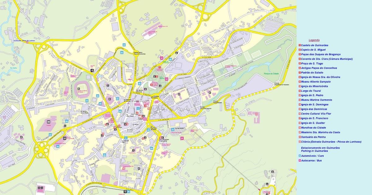 mapa turistico guimaraes As Maravilhas de Guimarães: Mapa da Cidade de Guimarães mapa turistico guimaraes