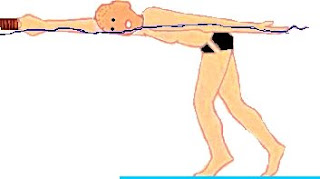 Image of a man standing in the pool water, laying his head on his arm that is extended and holding a kickboard
