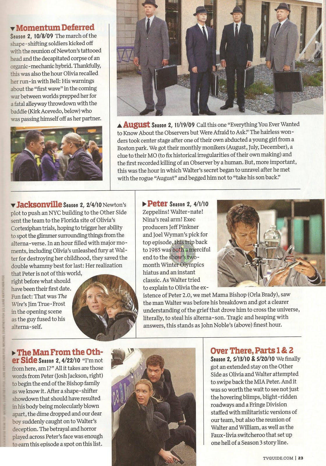 Scans of tvguide special issue ~ fringe television fan site for.