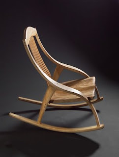 Theres nothing about aging that requires a rocking chair, but if you want one, make it a beauty. This Cygnus rocker was made by Robert Erickson and is featured on the Furnitude blog. Furnitude is written by master craftsman and furniture maker Mitch Roberson, who has the most beautiful collection of rockers I have ever seen. Click on the rocker to visit Furnitude.