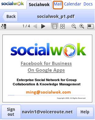 Preview Of A Shared Pdf Document Using Google Docs Viewer From Socialwoks HTML 5 Mobile Web Page