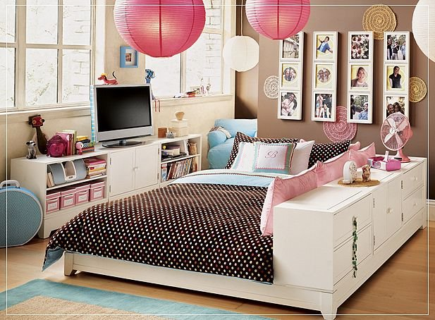 teen bedroom design idea girl preteen pinl brown decor with storage space tv elegant pretty