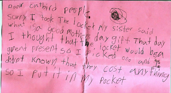 Schunes Blog 7YearOld Shoplifter Pens Apology Letter Returns