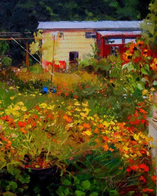 "in plein air: ""Fall Flower Garden"" oil landscape painting ..."