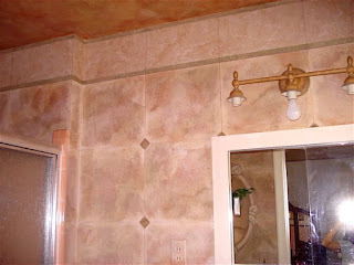 Bathroom wall painted with faux tile finish in 3 colors