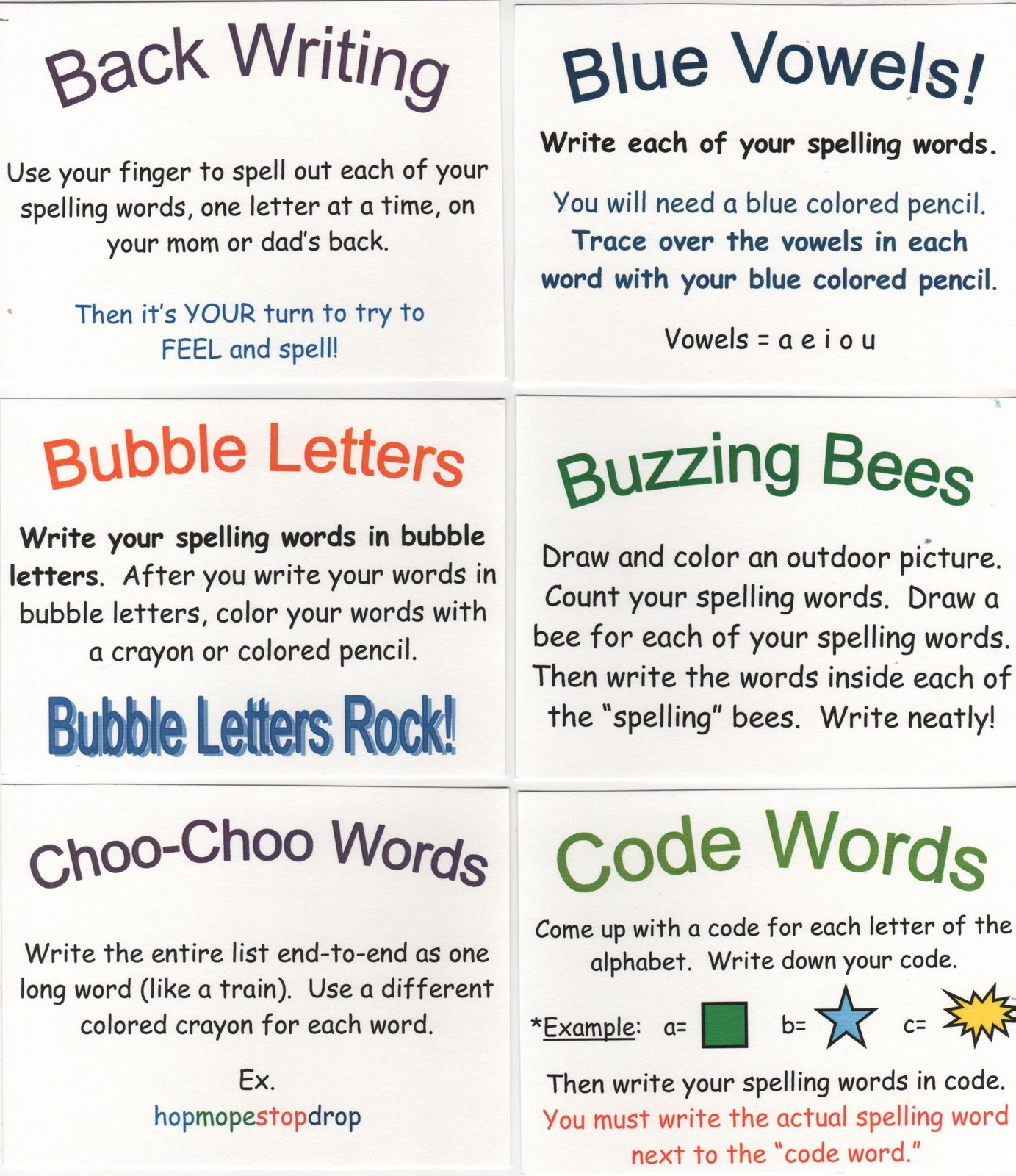 Activities For Spelling Homework For Grade 3