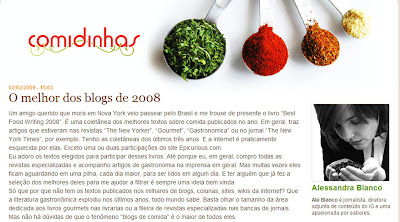 "Comidinhas - >""Best food blog writing 2008"""
