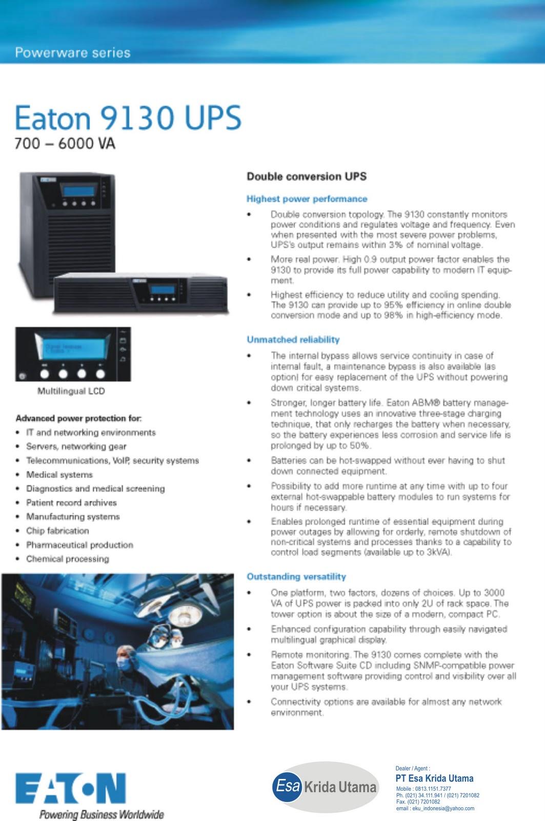 PT ESA KRIDA UTAMA: UPS Poweware 700 - 6000 VA