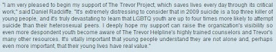 Daniel supports the Trevor Project