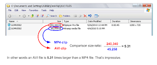 MP4 and AVI file size comparison