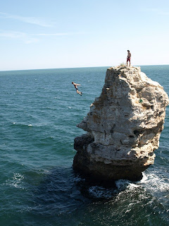 Limestone Tower Cliff Jumping Seaside