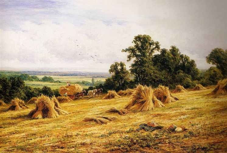 British Paintings Henry H Parker Harvest Time Near