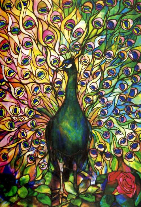 Pre Raphaelite Art Peacock Stained Glass Tiffany