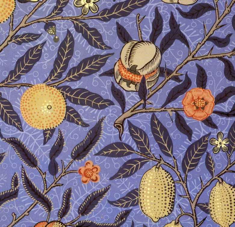 Pre Raphaelite Art: William Morris - Blue Fruit Wallpaper