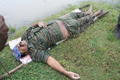 Dead body of LTTE Tamil Tiger leader V. Prabhakaran