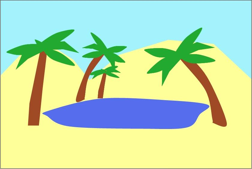 desert oasis drawing - photo #16