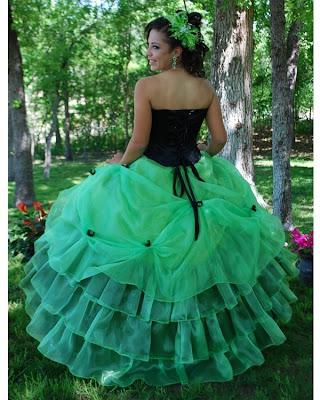 Vestido color negro y verde