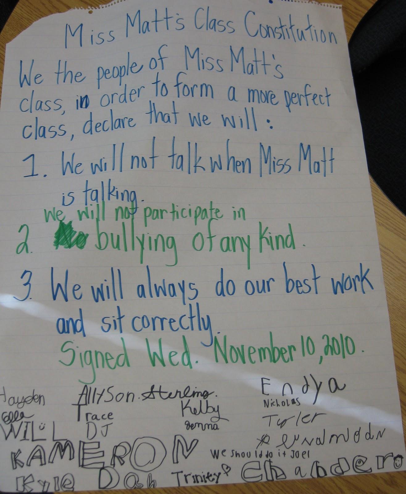Miss Matt S 2nd Grade Blog Miss Matt S Class Constitution