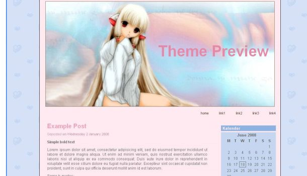 Free Pink Chobits Manga Wordpress Theme