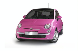 Pink Fiat 500 with Pink Driving Shoes