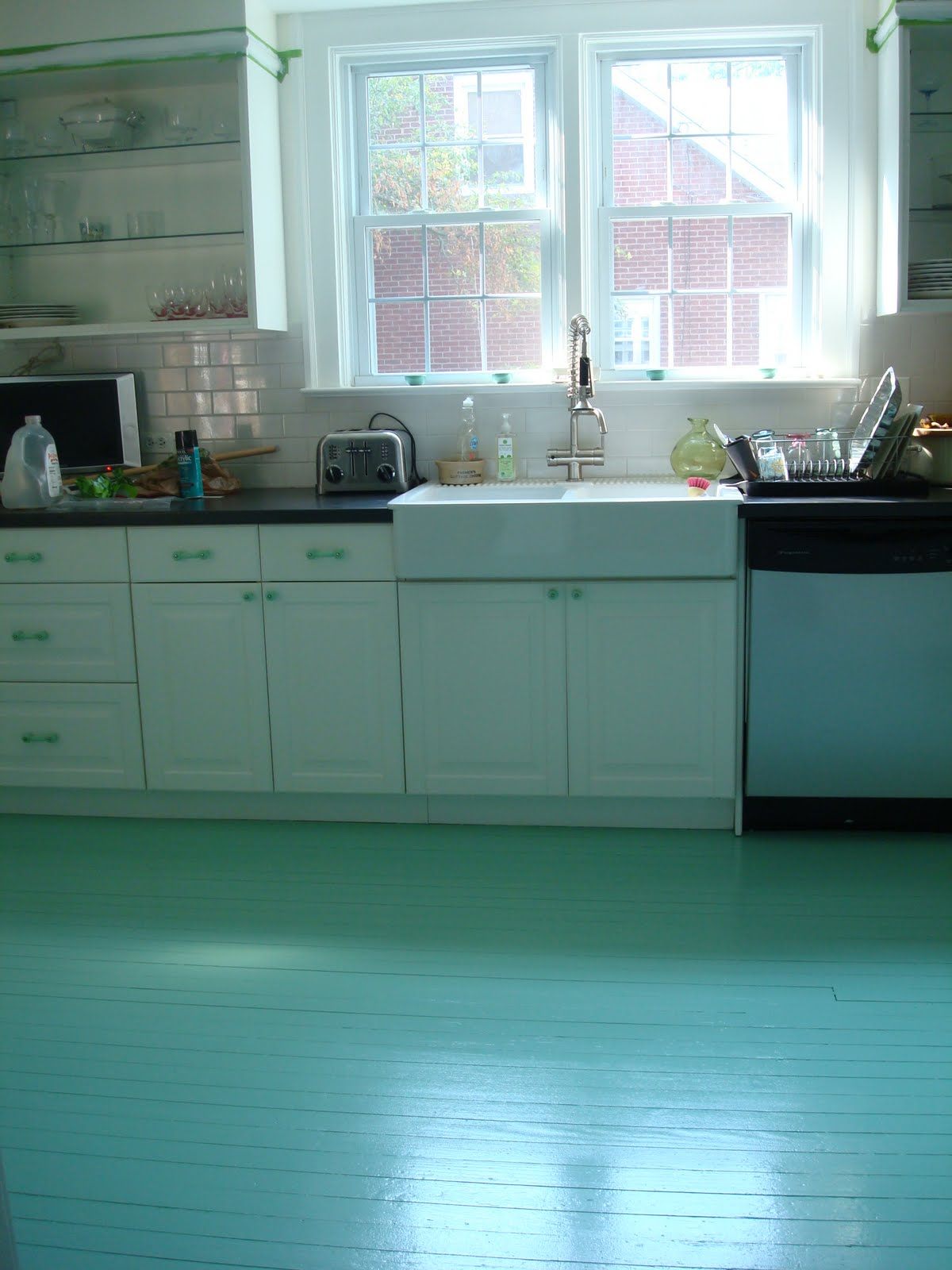 High Heeled Foot In The Door Diy Painted Kitchen Floor