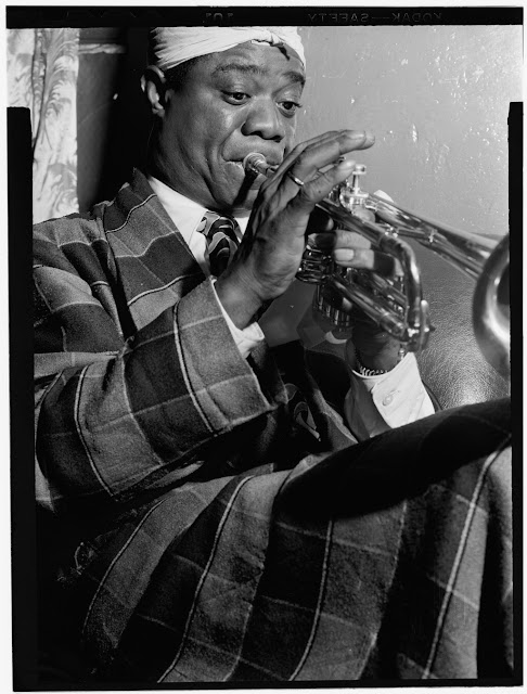 Portrait of Louis Armstrong, Aquarium, New York, N.Y., ca. July 1946. William P. Gottlieb Collection (Library of Congress).