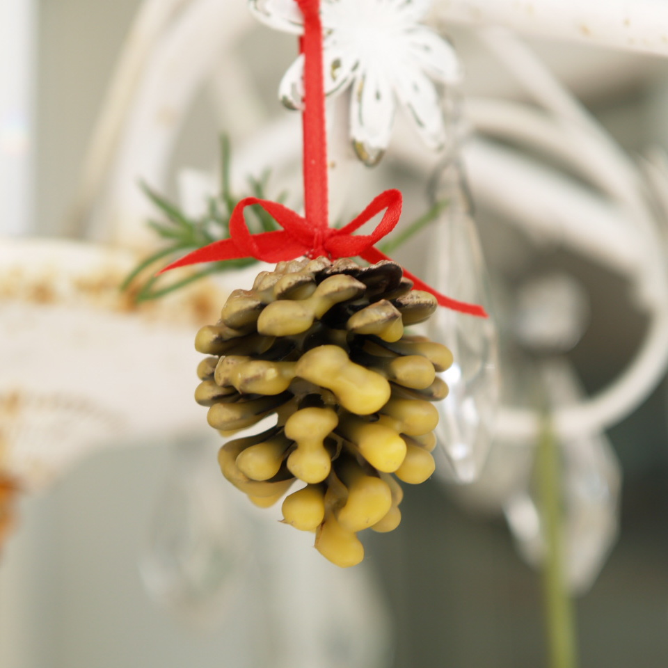Let's Make Wax-dipped Pine Cone Ornaments.