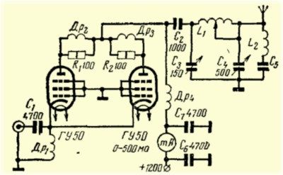 Pair of GU-50 Tubes in The Grounded-Grid Amplifier. Blueprint.