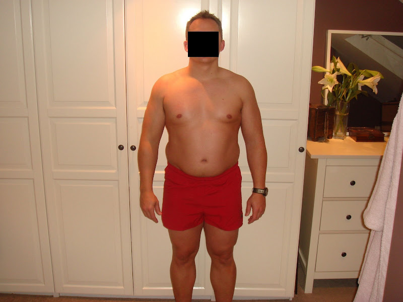 Julian — Front picture before Leangains — 222lbs