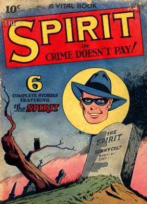 Cartoon graveyard and drawing of a tombstone, a dead tree, and an owl are shown in the cover of The Spirit 2, a rare old comic book from the 1940s